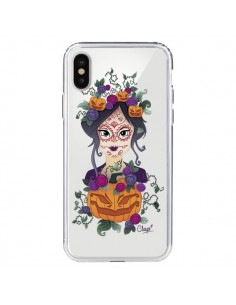 Coque Femme Closed Eyes Santa Muerte Transparente pour iPhone X - Chapo