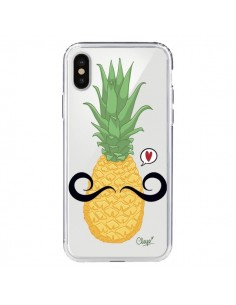 Coque Ananas Moustache Transparente pour iPhone X - Chapo