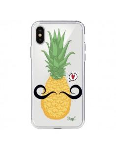 Coque iPhone X et XS Ananas Moustache Transparente - Chapo