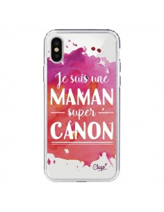 Coque iPhone X et XS Je suis une Maman super Canon Rose Transparente - Chapo