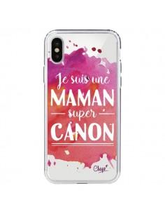 Coque Je suis une Maman super Canon Rose Transparente pour iPhone X - Chapo