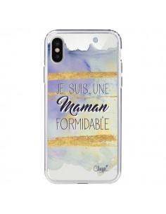 Coque Je suis une Maman Formidable Violet Transparente pour iPhone X - Chapo