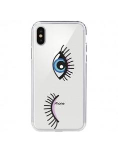 Coque Eyes Oeil Yeux Bleus Transparente pour iPhone X - Elsa Lambinet