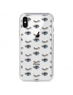 Coque Eyes Oeil Yeux Bleus Mosaïque Transparente pour iPhone X - Elsa Lambinet