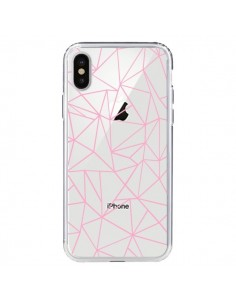 Coque Lignes Triangle Rose Transparente pour iPhone X - Project M