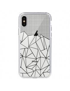 Coque Lignes Grille Grid Abstract Noir Transparente pour iPhone X - Project M