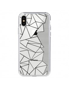 Coque Lignes Grilles Side Grid Abstract Noir Transparente pour iPhone X - Project M