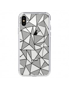 Coque Lignes Grilles Triangles Grid Abstract Noir Transparente pour iPhone X - Project M