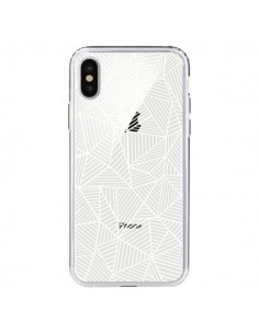 Coque Lignes Grilles Triangles Full Grid Abstract Blanc Transparente pour iPhone X - Project M