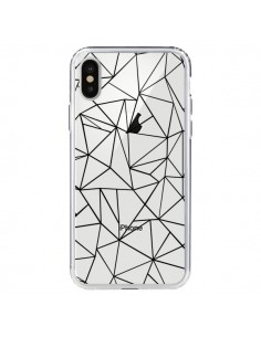 Coque Lignes Triangles Grid Abstract Noir Transparente pour iPhone X - Project M