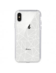 Coque Lignes Triangles Grid Abstract Blanc Transparente pour iPhone X - Project M