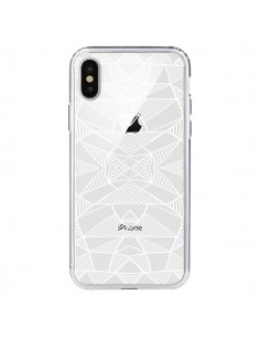 Coque Lignes Miroir Grilles Triangles Grid Abstract Blanc Transparente pour iPhone X - Project M