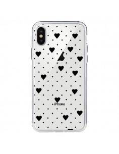 Coque Point Coeur Noir Pin Point Heart Transparente pour iPhone X - Project M