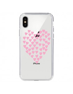 Coque Coeurs Heart Love Rose Pink Transparente pour iPhone X - Project M