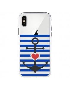 Coque Mariniere Ancre Marin Coeur Transparente pour iPhone X - Jonathan Perez