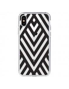 Coque Geometric Azteque Noir Transparente pour iPhone X - Dricia Do