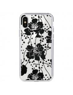 Coque Fleurs Noirs Flower Transparente pour iPhone X - Dricia Do