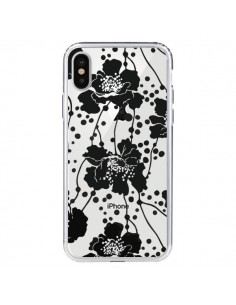 Coque iPhone X et XS Fleurs Noirs Flower Transparente - Dricia Do