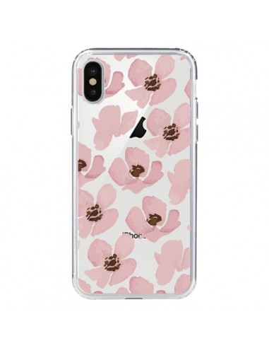 Coque iPhone X et XS Fleurs Roses Flower Transparente - Dricia Do