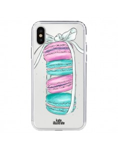 Coque Macarons Pink Mint Rose Transparente pour iPhone X - kateillustrate