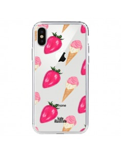 Coque Strawberry Ice Cream Fraise Glace Transparente pour iPhone X - kateillustrate