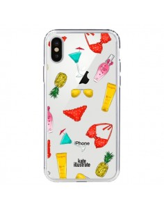 Coque Summer Essentials Ete Essentiel Transparente pour iPhone X - kateillustrate