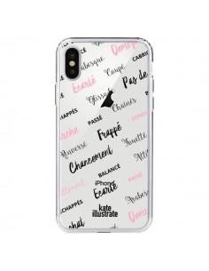 Coque Ballerina Ballerine Mots Transparente pour iPhone X - kateillustrate
