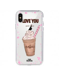 Coque I love you More Than Coffee Glace Amour Transparente pour iPhone X - kateillustrate
