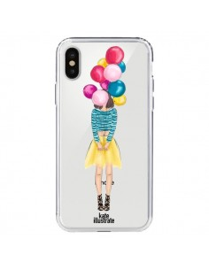 Coque Girls Balloons Ballons Fille Transparente pour iPhone X - kateillustrate