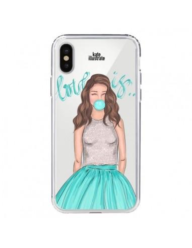 Coque iPhone X et XS Bubble Girls Tiffany Bleu Transparente - kateillustrate
