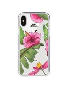 Coque Tropical Leaves Fleurs Feuilles Transparente pour iPhone X - kateillustrate