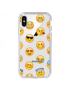 Coque iPhone X et XS Smiley Emoticone Emoji Transparente - Laetitia