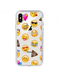 Coque iPhone X et XS Emoticone Emoji Transparente - Laetitia