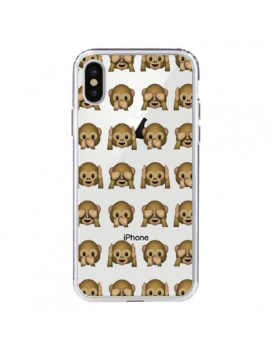 Coque Singe Monkey Emoticone Emoji Transparente pour iPhone X et XS - Laetitia