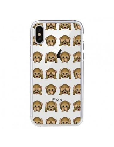 Coque Singe Monkey Emoticone Emoji Transparente pour iPhone X - Laetitia