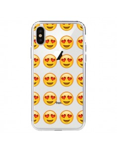 Coque Love Amoureux Smiley Emoticone Emoji Transparente pour iPhone X - Laetitia