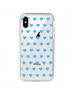 Coque Coeur Heart Love Amour Bleu Transparente pour iPhone X - Laetitia
