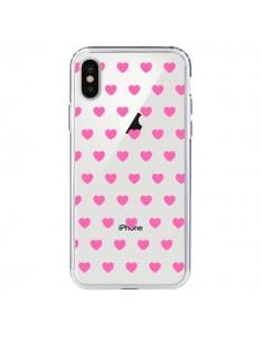 Coque iPhone X et XS Coeur Heart Love Amour Rose Transparente - Laetitia