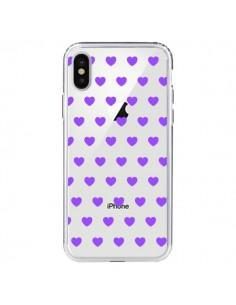 Coque iPhone X et XS Coeur Heart Love Amour Violet Transparente - Laetitia