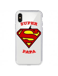 Coque iPhone X et XS Super Papa Transparente - Laetitia