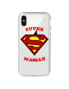 Coque iPhone X et XS Super Maman Transparente - Laetitia