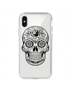 Coque Tête de Mort Mexicaine Noir Transparente pour iPhone X - Laetitia
