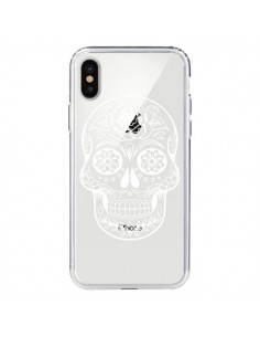 Coque Tête de Mort Mexicaine Blanche Transparente pour iPhone X - Laetitia