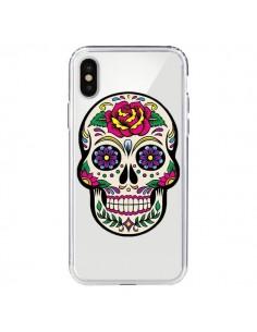 Coque Tête de Mort Mexicaine Fleurs Transparente pour iPhone X - Laetitia