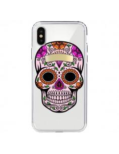 Coque Tête de Mort Mexicaine Noir Rose Transparente pour iPhone X - Laetitia