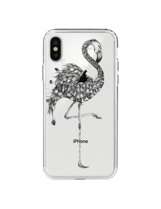 Coque Flamant Rose Poétique Transparente pour iPhone X - LouJah