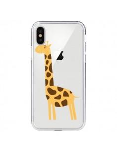 Coque Girafe Giraffe Animal Savane Transparente pour iPhone X - Petit Griffin
