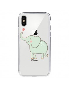 Coque Elephant Elefant Animal Coeur Love Transparente pour iPhone X - Petit Griffin