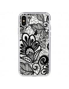 Coque Lace Fleur Flower Noir Transparente pour iPhone X - Petit Griffin