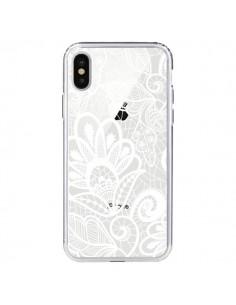 Coque Lace Fleur Flower Blanc Transparente pour iPhone X - Petit Griffin